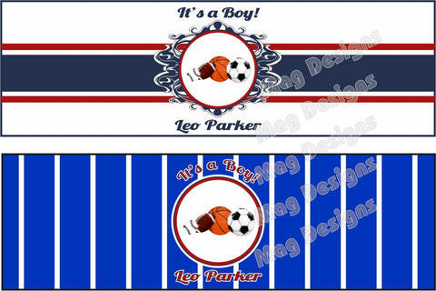 Baby Shower Cigar Bands - Baby Boy - Sports Theme - New Baby - Custom Cigar Bands - 16 Bands