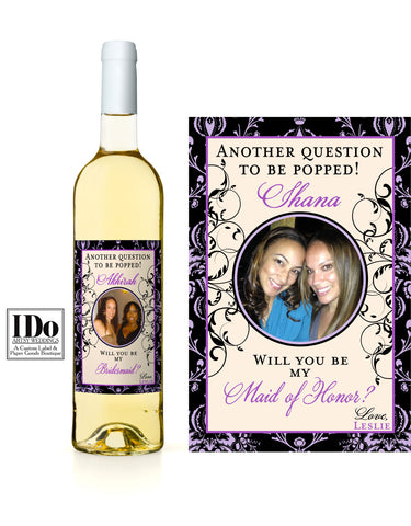 Black Damask Border Wine Photo Wine Label with Black Swirls on each side and a photo of you and your Bridesmaid.