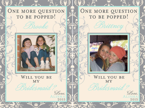 One More Question to be Popped Photo Wine Labels - I Do Artsy Weddings