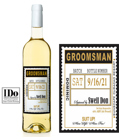 Groomsmen Wine Label - Scallop Edge