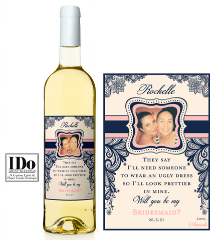 Bridesmaid Photo Wine Labels -  Wedding Party Gifts - I Do Artsy Weddings