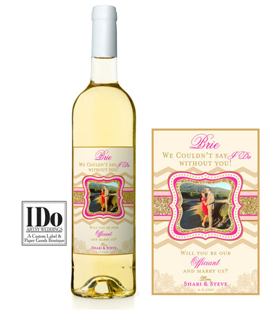 Officiant Photo Wine Label - Will you be our Officiant - I Do Artsy Weddings