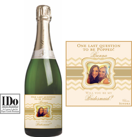 Chevron Mini Wine & Champagne Label