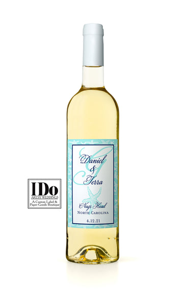 Monogram Starfish Wine Label - I Do Artsy Weddings