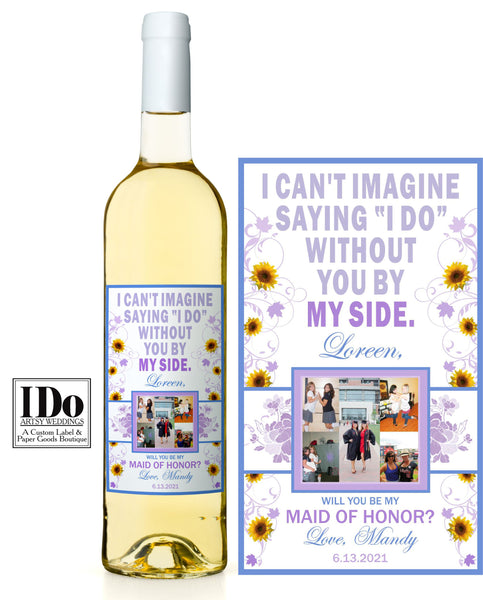 Sunflower Bridesmaid Photo Wine Labels