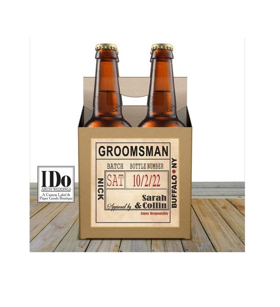 GROOMSMEN 4 PK BEER CARTON - I Do Artsy Weddings