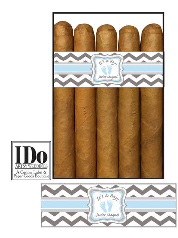 Light Blue and Grey Chevron Cigar Band with It's a Boy, baby's name and 2 blue baby footprints