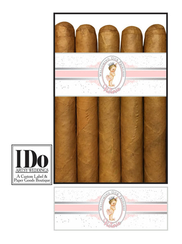 Baby Girl Cigar Bands for New Baby - Baby Princess - I Do Artsy Weddings
