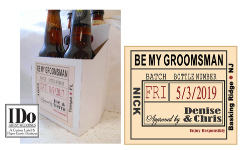 4 pack white beer bottle carrier box with a custom label on the front with date of wedding, bride & groom names, recipient name and role in the wedding, place of the wedding in your colors.