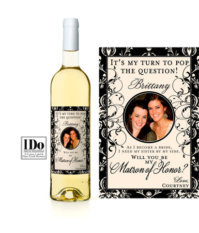 Damask Bridesmaid Photo Wine Labels