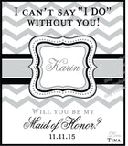 Will you Be My Bridesmaid Champagne Labels