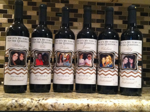 Bridesmaid Wine Labels - Wedding Party Gifts - Chevron Collection - Customized