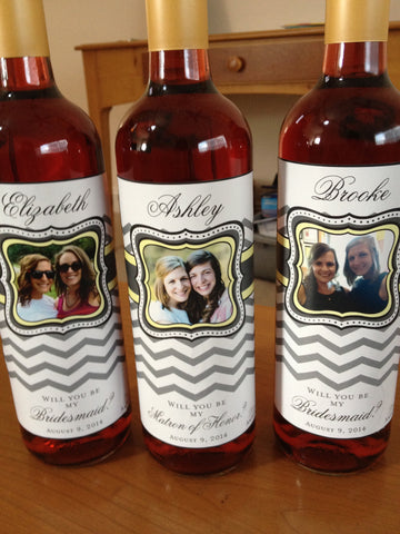 Bridesmaid Wine Labels for your Wine Bottles - Will you be my Bridesmaid - Chevron Collection - Customized