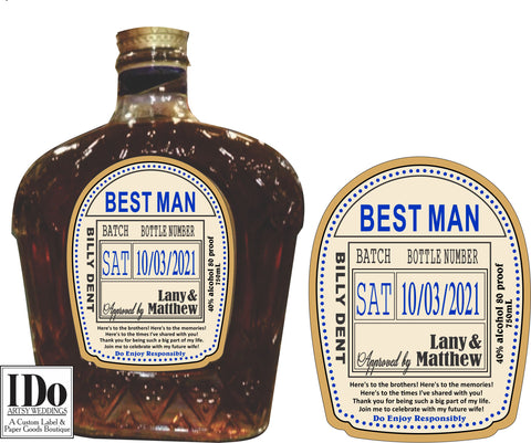 Custom Liquor Label - Fits Crown - Rounded Top Liquor Label