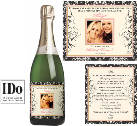Bridesmaid Photo Champagne Labels | Front and Back Labels