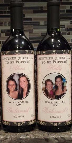Bridesmaid Photo Wine Labels