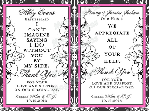 Wedding Thank you - Custom Wine Labels - Gift Labels - Custom Wine Bottles Labels - Thank You Label - Personalized Bridesmaid Wine Labels