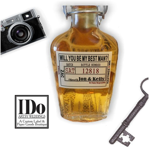 Groomsman Glass Flask Liquor Bottle with Labels and Top Date Labels 8.5oz 250ml