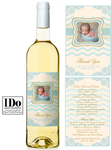 Christening Front and Back Wine Labels - I Do Artsy Weddings