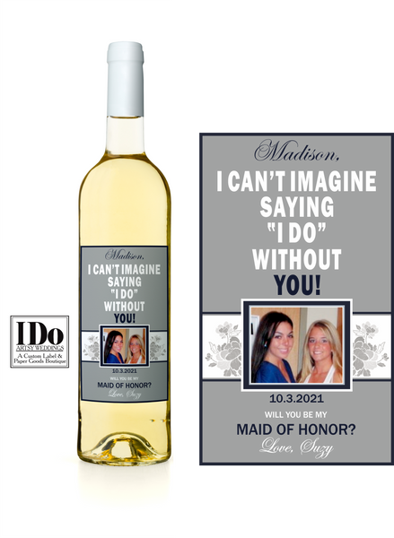 Gray Floral Photo Wine Label - I Do Artsy Weddings