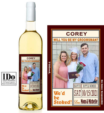 GROOMSMAN PHOTO WINE LABEL