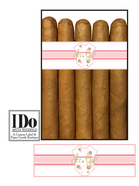 New Baby Girl Cigar Wraps for Baby Announcements - It's a Girl! - I Do Artsy Weddings