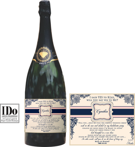 I said Yes Champagne Labels - I Do Artsy Weddings