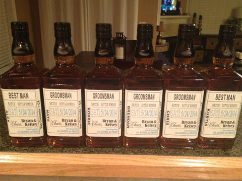 Liquor Labels for your Best Man and Groomsman Gifts Customizable - Bourbon - Whiskey - 5 Labels