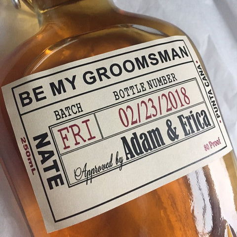 Grooms Labels & Flask Bottle Top Date Labels - 250ml
