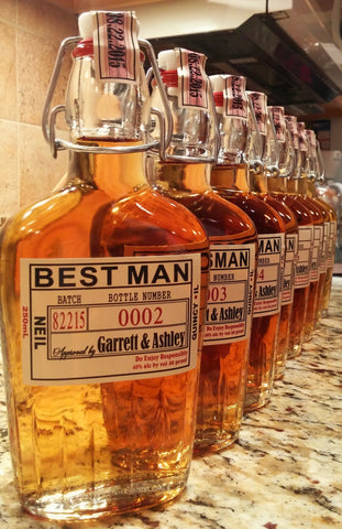 Groomsman Flask With Labels - Liquor Bottle, Labels and Top Date Labels