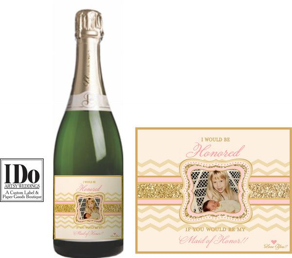 Bridesmaid Mini Wine and Champagne Labels - I Do Artsy Weddings