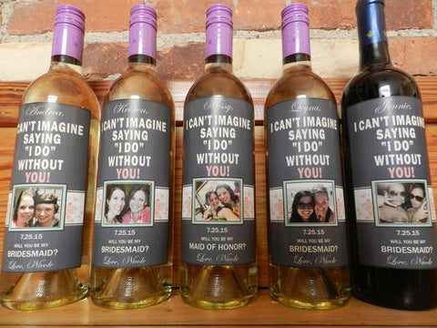 Bridesmaid Photo Wine Labels -Custom Maid of Honor Labels