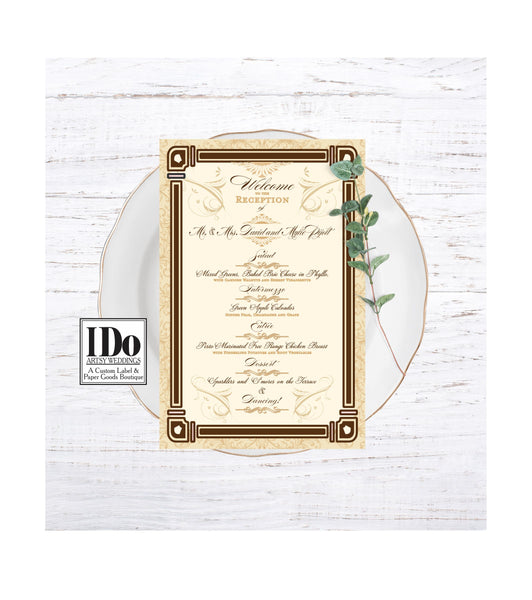 Menu - Wedding Menu for Old Hollywood Theme - Great Gatsby - Old Hollywood Collection for Wedding Receptions and Bridal Luncheons - I Do Artsy Weddings