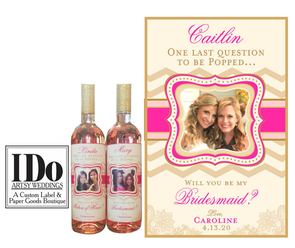 Bridesmaid Photo Wine Labels - Chevron and Lace - I Do Artsy Weddings
