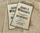 Retirement Liquor Label - Custom Wine Label for Retirement