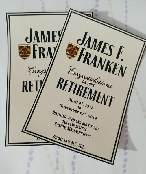 Retirement Liquor Label - Custom Wine Label for Retirement - I Do Artsy Weddings