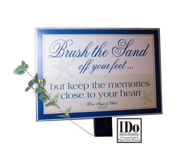 Sign for Sand Brushes - Beach Weddings - 6x8 Customizable