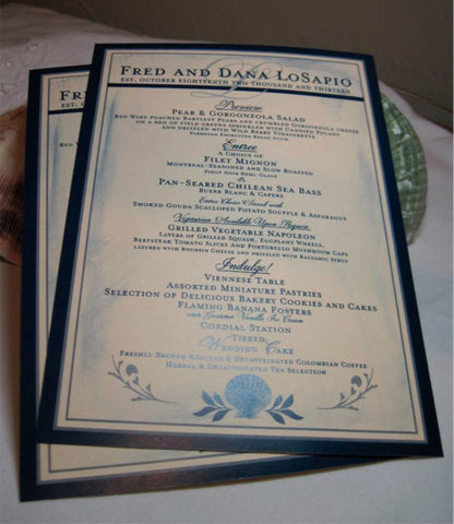Menu - Beach Wedding Menus - Scallop Shell Collection - Customizable