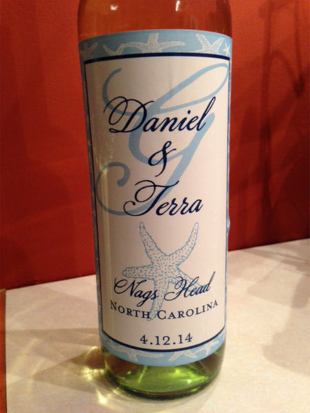 Personalized Beach Wedding Wine Labels - I Do Artsy Weddings