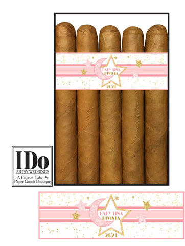 New Baby Announcement Cigar Wraps - Twinkle Twinkle Little Star Cigar Bands - Twinkle Moon - I Do Artsy Weddings