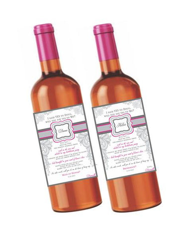 Will you My Be Bridesmaid Wine Labels - I Do Artsy Weddings