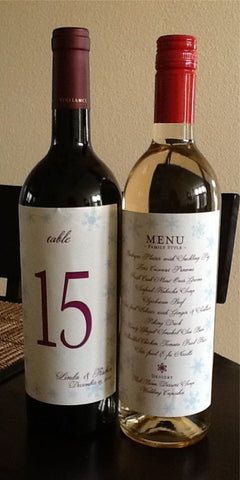 Table Numbers - Wedding Menu Table Numbers - Wine Label Menu - Wine Label Table Numbers - Snowflake Collection - I Do Artsy Weddings