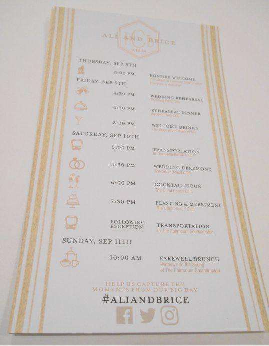 Wedding Itinerary  Wedding Timeline Cards  Custom Wedding Programs