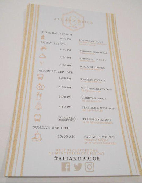 Wedding Itinerary - Wedding Timeline Cards - Custom Wedding Programs - Itinerary Cards - Timeline Cards - Wedding Schedules -25 cards
