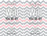 Maid of Honor Labels for Wine Bottles - Wedding Party Gifts - Chevron Collection  - Customized