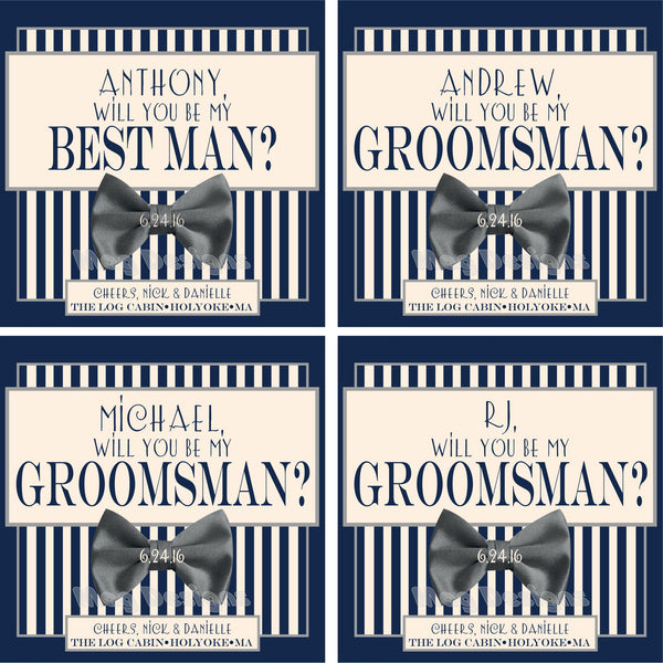 Wedding Groomsmans Labels - Striped Label with a Bow Tie - Formal Beer Labels - Be My Best Man
