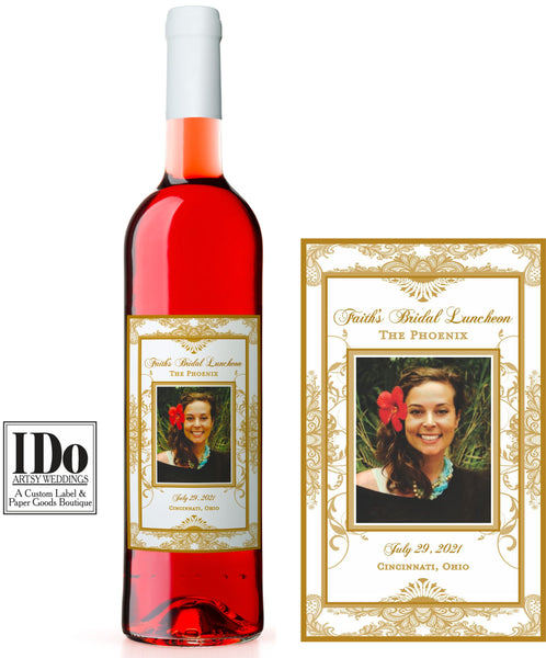 Bridal Luncheon Labels - Custom Photo Bottle Labels - I Do Artsy Weddings