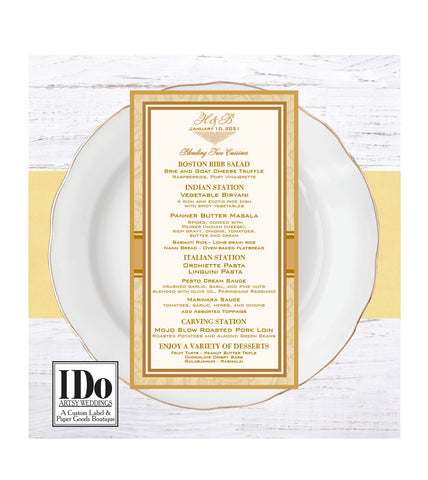 Wedding Menus - Indian Collection - Customizable - I Do Artsy Weddings