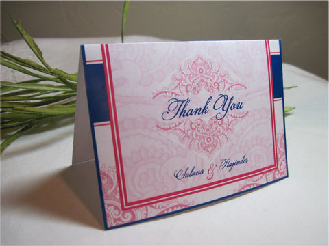 Wedding and Shower Thank You Cards - Indian Inspired