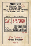Officiant Wine Label |  We Couldn't Say Yes - I Do Artsy Weddings